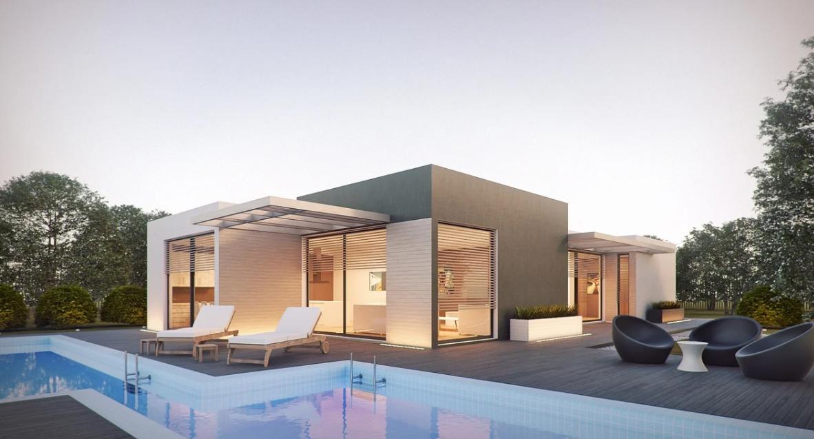 bazén a dům